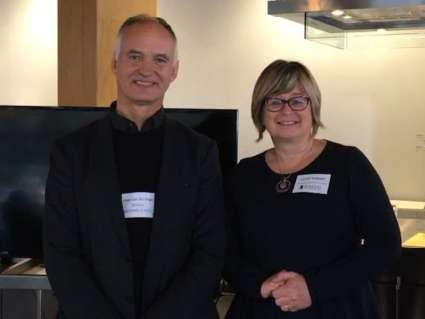 Speaker Jasper van der Lingen with Joseph's Linda Lodetti